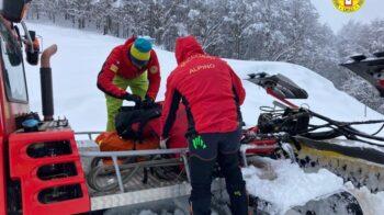 scialpinista in difficoltà